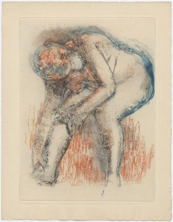 Etching And Aquatint Degas - Étude de nu se massant la cheville (vers 1896)