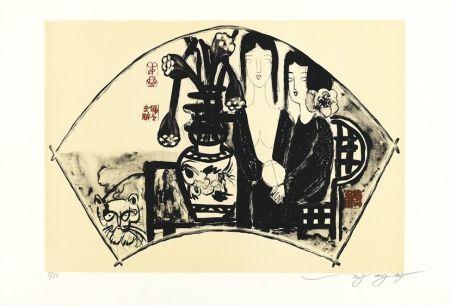 Lithograph Tongzhengang - éventail