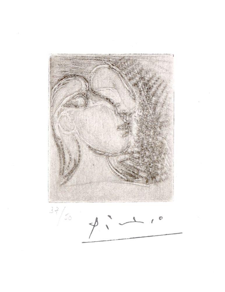 Etching Picasso - ête de femme tournée à droite