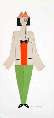 Lithograph Delaunay - 1921 costume for Dada party in Paris