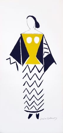 Lithograph Delaunay - 1921 costume for Dada party in Paris, Coeur a Barbe