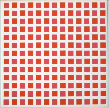 Screenprint Morellet - 1 carré rouge 1 carré orange