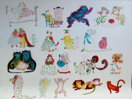 Lithograph Fini - 24 Chats et un Oiseau