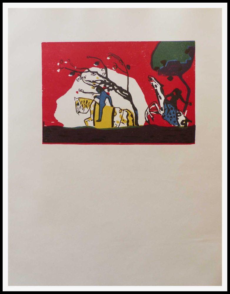 Woodcut Kandinsky - 2 CAVALIERS SUR FOND ROUGE