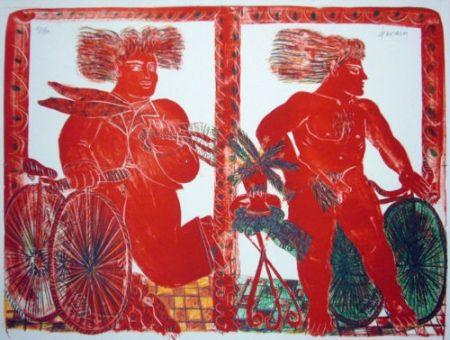 Lithograph Fassianos - 2 cyclistes