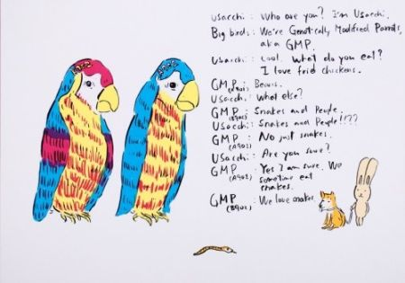 Lithograph Kaga - 2 Genetically modified parrots