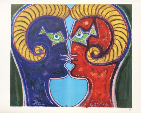 Lithograph Cocteau - 2 Profiles Face to Face