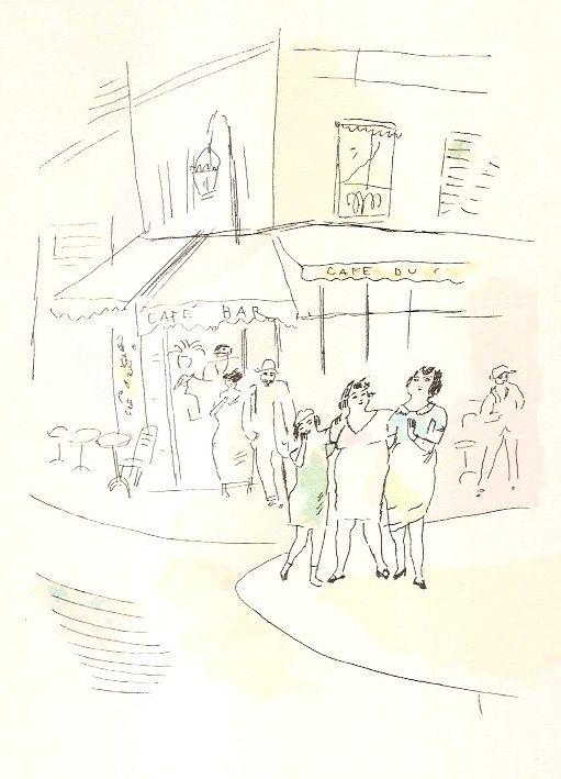 Illustrated Book Pascin - 3 petites filles dans la rue.  Dessins en couleurs de Pascin