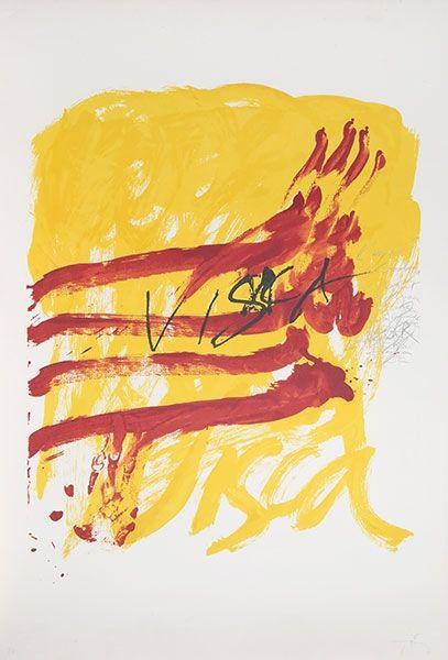 Lithograph Tàpies - 7 from Als Mestres de Catalunya