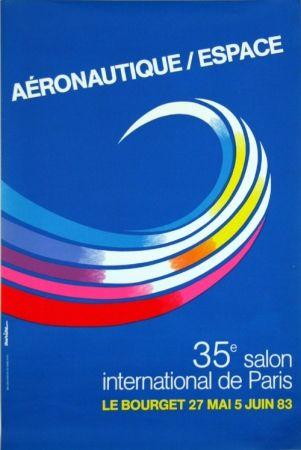 Lithograph Auriac - Aéronautique Espace  Salon du  Bourget