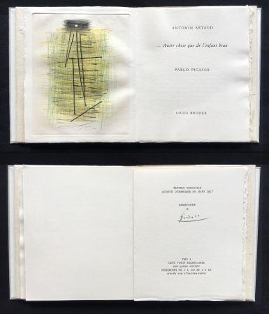 Illustrated Book Picasso - A. Artaud: AUTRE CHOSE QUE DE L'ENFANT BEAU. Célèbre gravure originale en couleurs (1957).
