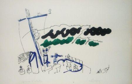 Lithograph Lapicque - A bord d'un destroyer