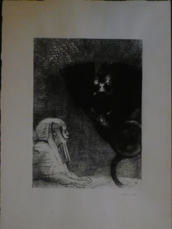 Lithograph Redon - A Gustave Flaubert,le sphinx