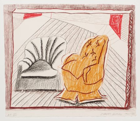 Lithograph Hockney - A Picture Of Two Chairs