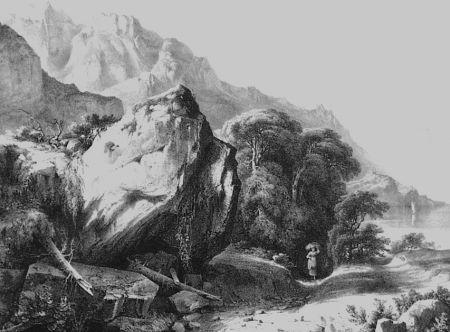 Lithograph Fontanesi - A Saint-Gingolph (Lac de Genève)