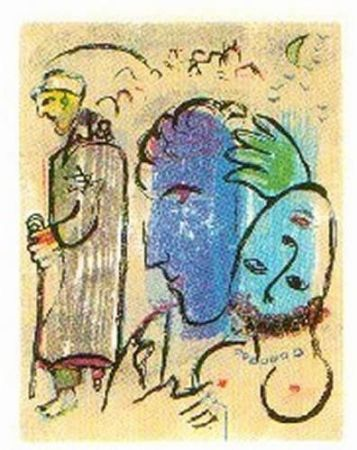 Woodcut Chagall - A Terre