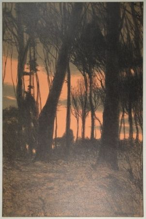Lithograph Kampmann - Abendröthe (Bäume im Abendrot)
