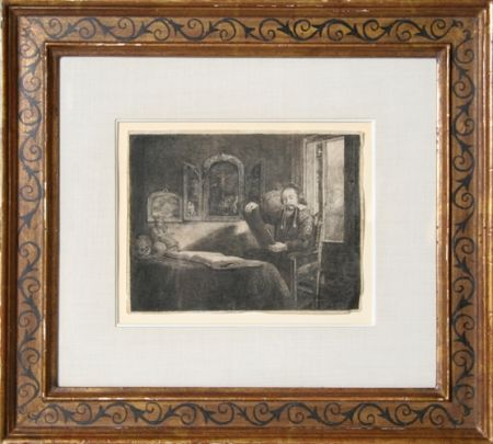 Etching Rembrandt - Abraham Francen, apothecary