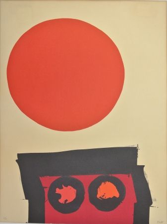 Lithograph Feito - Abstraccion en rojo y negro