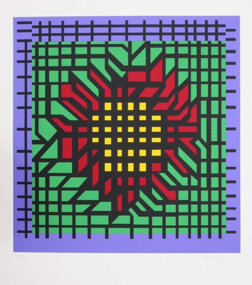Screenprint Vasarely - Abstract Composition