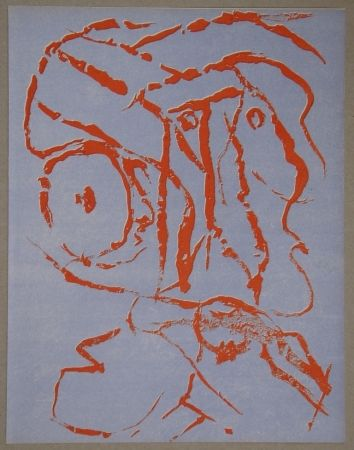 Lithograph Alechinsky - Abstract head