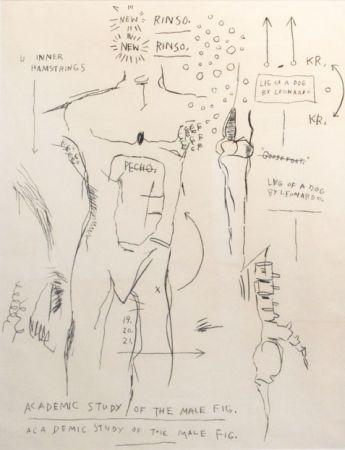 Screenprint Basquiat - Academic Study of the Male Figure