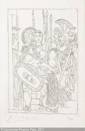 Etching Picasso - Accord Entre les Guerriers de Sparte et d'Athens