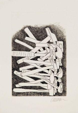 Drypoint Arman - Accumulation de marteaux