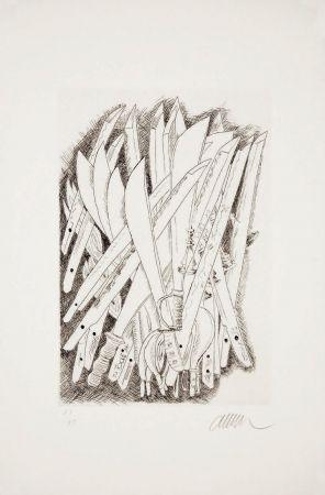 Drypoint Arman - Accumulation de sabres
