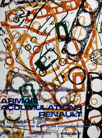 Lithograph Arman - '' Accumulations Renault ''  -  Dusseldorf