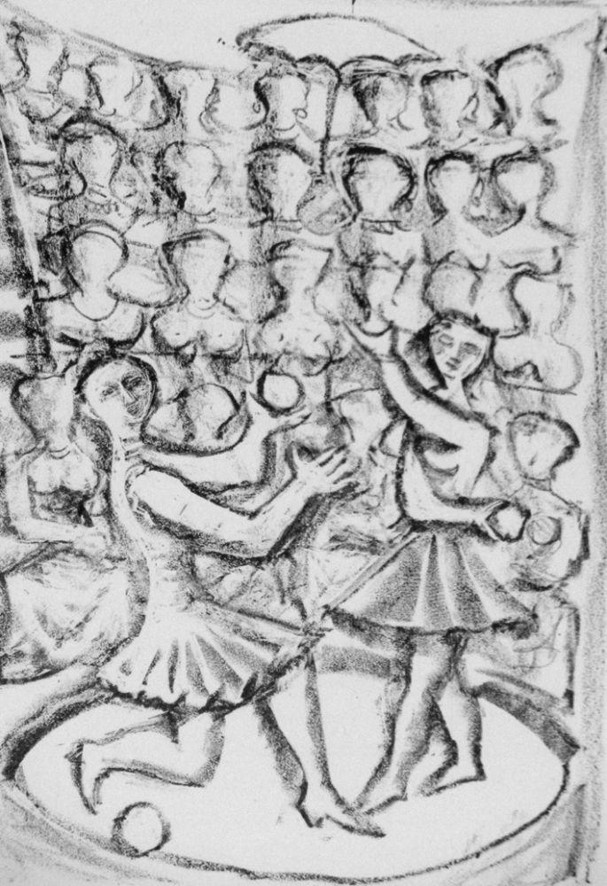 Lithograph Campigli - Acrobati