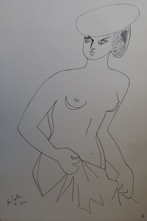 Lithograph Cocteau - Actrice