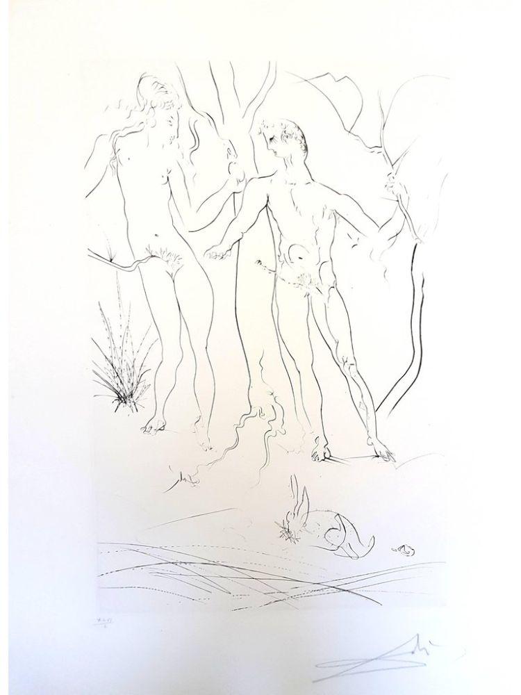 Lithograph Dali - Adam et Eve