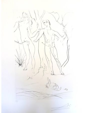 Etching Dali - Adam et Eve