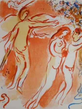 Lithograph Chagall - Adam Et Eve Chassés Du Jardin D'eden