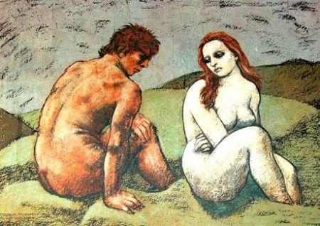 Lithograph Messina - Adamo ed Eva