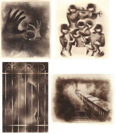 Illustrated Book Alexeïeff - ADRIENNE MESURAT. Exemplaire avec 68 dessins originaux au crayon tous signés par Alexeieff.