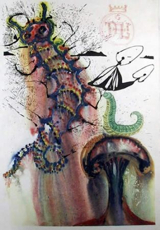 Lithograph Dali - Advice from a caterpillar
