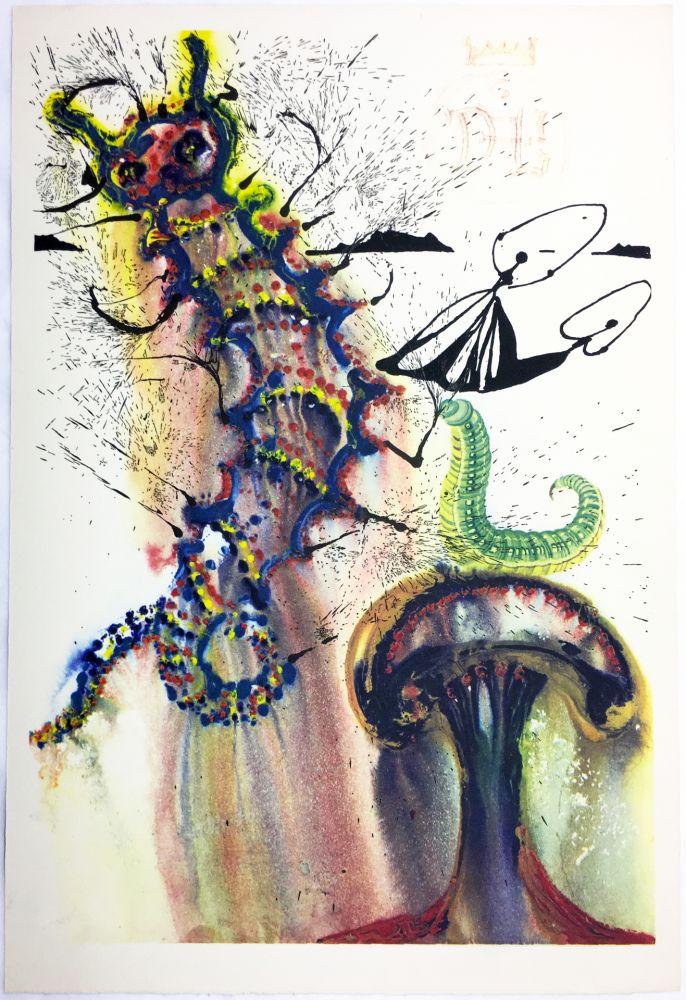 Rotogravure Dali - ADVICE FROM A CATERPILLAR (For Alice in Wonderland. New-Yok 1969).