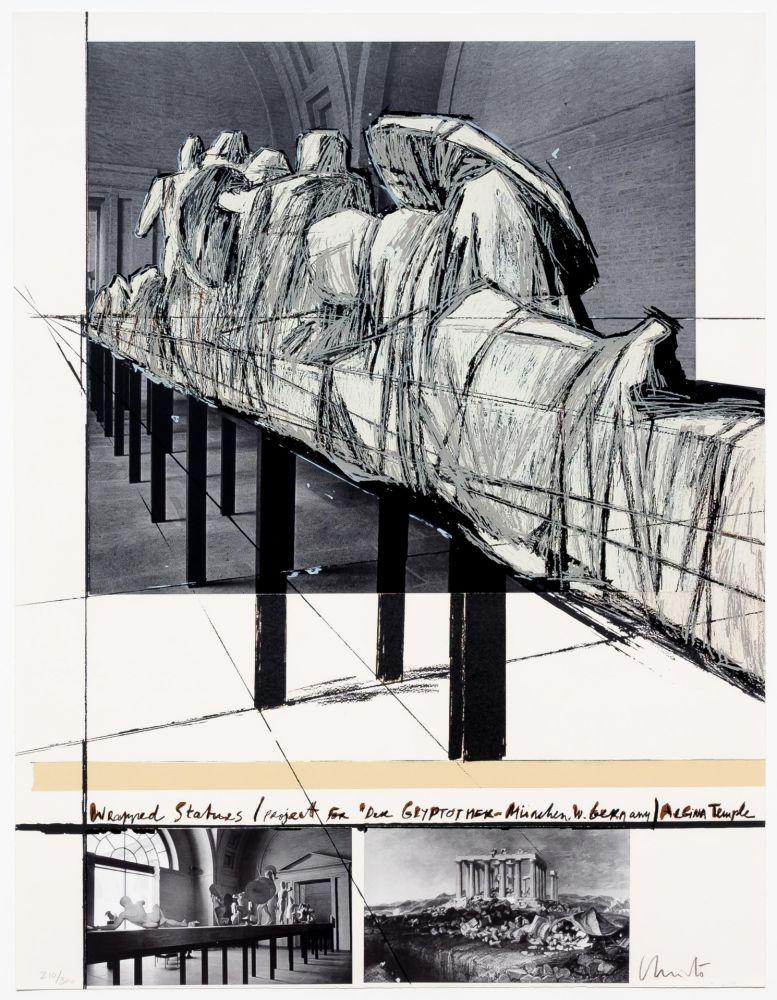Screenprint Christo - Aegena Temple Project for Munich Glyptotek