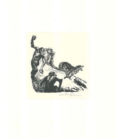 Woodcut Klemm - Affen jagen den Wolf