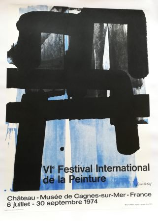 Lithograph Soulages - Affiche expo 74