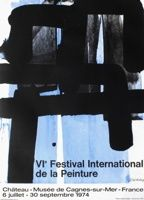 Lithograph Soulages - Affiche lithographie exposition cagnes/mer