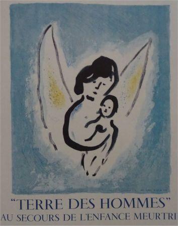 Lithograph Chagall - Affiche lithographie Terre des Hommes