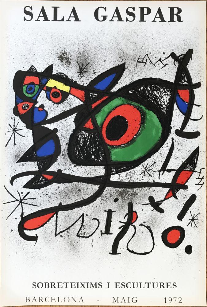 """Lithograph Miró - Affiche pour l' exposition """"Sobreteixims i escultures"""". Sala Gaspar, Barcelona."""