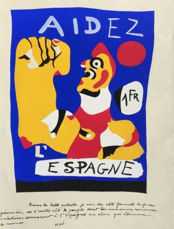 Pochoir Miró - Aidez L'Espagne (D. 17)