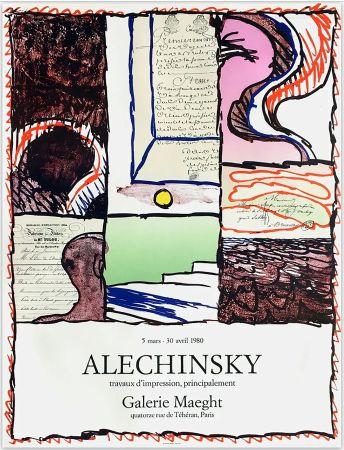 Poster Alechinsky - ALECHINSKY TRAVAUX D'IMPRESSION, PRINCIPALEMENT.  Galerie Maeght 1980. Affiche originale en lithographie.
