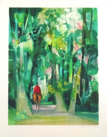 Lithograph Hilaire - Allee forestiere