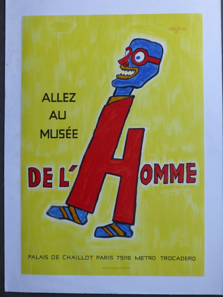 Poster Savignac - Allez au musée de l'homme