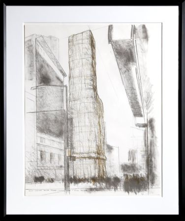 Lithograph Christo - Allied Chemical Tower, Packed, Project for Number 1 Times Square from